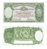 Old Australian one pound note. Both sides of an old Australian one pound note from the 1940's Stock Image