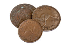Old Australian Pennies Isolated on White. Three old Australian pennies, isolated on white background Royalty Free Stock Photos