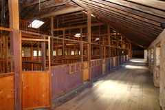 Old Australian Shearing Shed. Built in 1861 this magnificent woolshed was built on the Chirnside Estate south-west of Melbourne, Victoria Australia. Pens were Royalty Free Stock Photo
