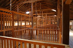 Old Australian Shearing Shed. Built in 1861 this magnificent woolshed was built on the Chirnside Estate south-west of Melbourne, Victoria Australia. Pens were Stock Photo