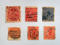 Old Australian Stamps Royalty Free Stock Image