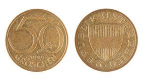 Old Austrian 50 Groschen coins (1989 year) Stock Photo