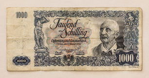 Old Austrian Banknote: 1000 Schilling 1954 Stock Photography