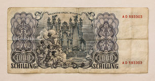Old Austrian Banknote: 1000 Schilling 1954 Stock Image