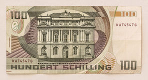 Old Austrian Banknote: 100 Schilling 1984 Royalty Free Stock Photography