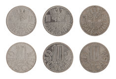 Old Austrian Coins Isolated on White Stock Images