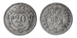 Old austro-hungarian coin Royalty Free Stock Photos