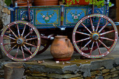 Old Authentic Antique Village Carriage with Colourful Decoration Stock Photography