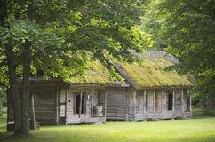 Old authentic barn building for summer goodies, open-air museum in Rumšiškės, Lithuania. Old buildings which were used to keep food and earth goodies royalty free stock photography