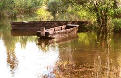Old authentic handmade old fishing boats Stock Image