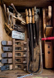 Old, authentic tools from the museum of ancient crafts in the city of Valli del Pasubio, Italy. Old, rusty, authentic tools from the museum of ancient crafts in royalty free stock images