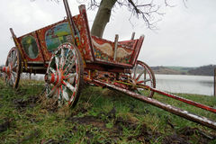 Old authentic wooden wagon Stock Image