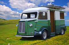 Old auto camper on a background of the blue sky. Royalty Free Stock Photo