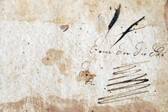 Old autograph. Antique illegible dedication and autograph in old weathered book Royalty Free Stock Photo