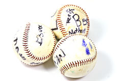 Old Autographed Baseballs Royalty Free Stock Photos