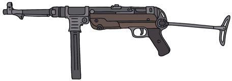 Old automatic gun. Vector illustration, hand drawing Royalty Free Illustration