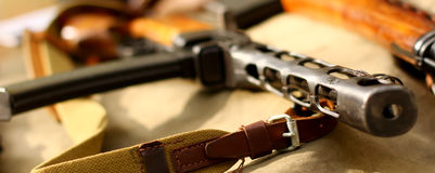 Old automatic guns. Old guns automatic gun rifle  weapons historical military background Stock Photography