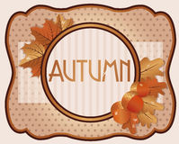 Old autumn card with acorns and oak leaves. Vector illustration Stock Image