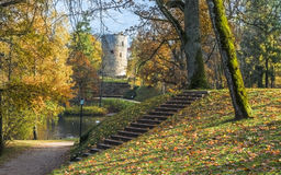 Old Autumnal Park In Cesis, Latvia Royalty Free Stock Photography