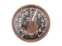 The old aviation air thermometer. The old spiral thermometer from military Russian helicopter. Letters - air in cabin Royalty Free Stock Image