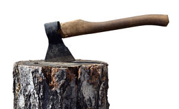 Old Ax In Wooden Chock Royalty Free Stock Images