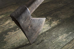 Old ax. On wood background Royalty Free Stock Photos