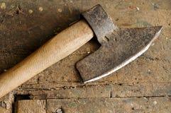 Old axe. Old carpenter axes on wooden table Stock Photos