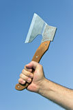 Old axe in hand Royalty Free Stock Photography
