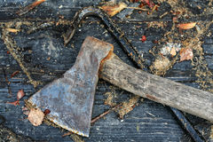 Old axe and nail-catcher Stock Photography