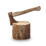 Old axe stuck in log Stock Photos