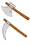 Old Axe. Vector hand draw sketch, two axes, isolated on white Stock Images