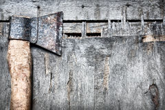 Old axe on the wood Stock Image