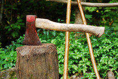 Old Axe on Wood Block Royalty Free Stock Photography