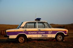 Old Azerbaijani police car Royalty Free Stock Image