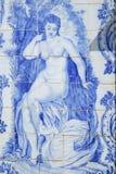 Old azulejo tiles at the garden of the Estoi palace, Algarve, Portugal. Stock Image