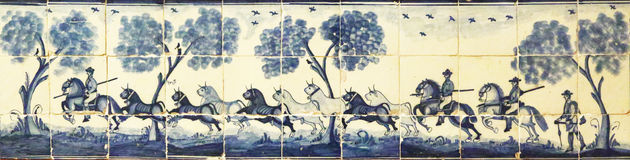 Old azulejos representing a herd of bulls, Sevilla Stock Images