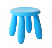 Old baby blue plastic stool isolated on white Stock Photo
