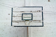 Old backboard with basket to play basketball. The old backboard with basket to play basketball Royalty Free Stock Photography