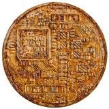 Old backface bitcoin Royalty Free Stock Photos