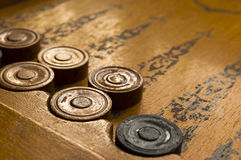 Old backgammon game Stock Images