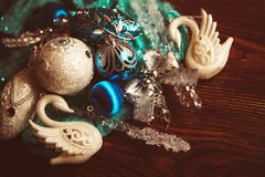 Old background with Christmas toys of blue and silver color royalty free stock images