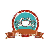 Old background circular border with crab and label Stock Photo