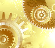 Old background with gold gears Royalty Free Stock Photography