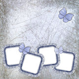 old background with jeans frames and butterfly Stock Image