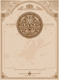 Old background with lion circle label vintage background Stock Image