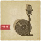 Old background with microphone and record Royalty Free Stock Images