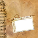 Old background with musical border and frame Royalty Free Stock Image