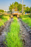 Old backhoe at construction site Royalty Free Stock Images