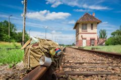 Old backpack with map, compass and diary Stock Photography