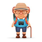 Old Backpacker Man Grandfather Photo Camera 3d Travel Realistic Cartoon Character Design Isolated Vector Illustration Royalty Free Stock Image